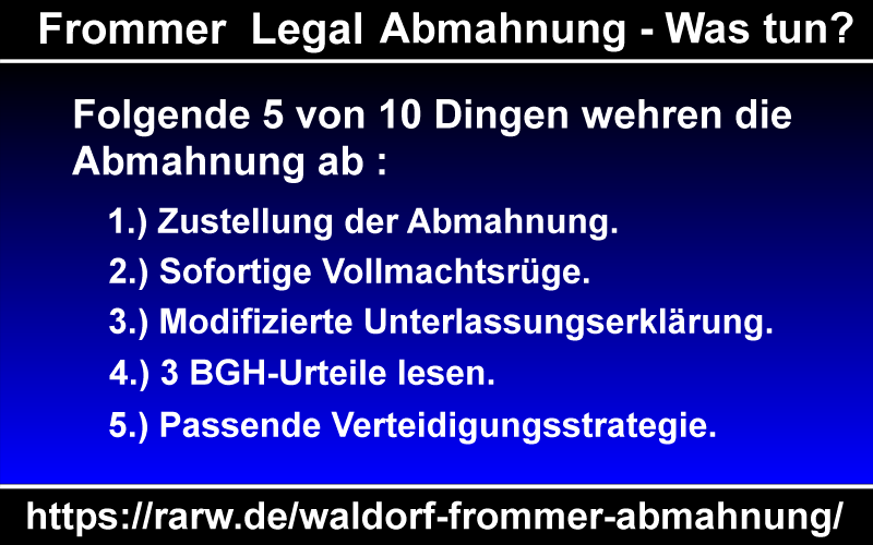 "Infografik ""Waldorf Frommer Abmahnung - Was tun?"""